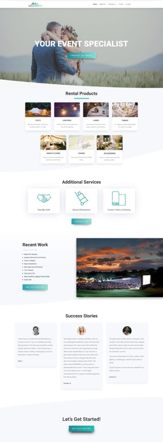 One of the websites we designed for Maui Rents