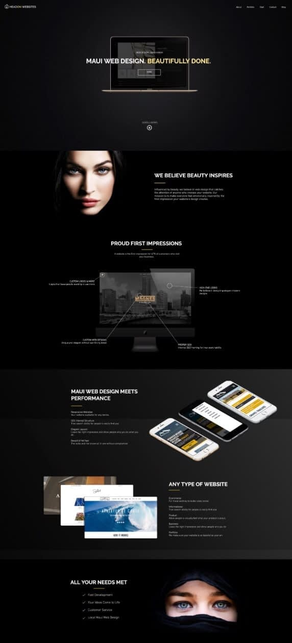 A website for a web design agency
